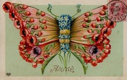Belle Illustrée Glacée : Papillon Réalisé Avec Des Fleurs ( Coquelicots, Myosotis Et Tanaisies ) - Sonstige