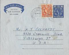 ST LUCIA 1961 AIRMAIL AEROGRAM / AEROGRAMME TO USA. - St.Lucia (...-1978)