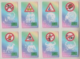 ISRAEL ZODIAC HOROSCOPE LUNAR CALENDAR TRAFIC RULES SET 12 PHONE CARDS - Zodiaco