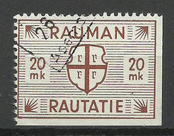 FINLAND FINNLAND 1945 RAUMA Railway Packet Stamp 20 MK O - Paketmarken