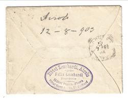 1903 Helvetia 25 Cent. Rap. From Airolo TICINO For ITALY. Albergo Hotel Lombardi - Storia Postale