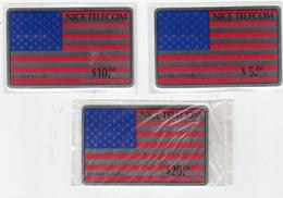 Nice Telecom Set 3 Mint Phonecards Prepaidmint Unused. - Other