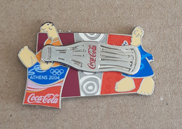 Athens 2004 Olympic Games,Coca Cola Sponsor Moving Pin, Bottle With Mascots, Silver Version - Jeux Olympiques