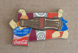 Athens 2004 Olympic Games,Coca Cola Sponsor Moving Pin, Bottle With Mascots, Gold Version - Jeux Olympiques