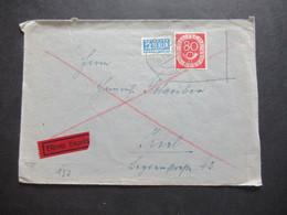 BRD 1954 Posthorn Nr.137 EF Fernbrief Mit Zusatzleitung Eilbote Expres Eschwege Nach Kiel Bahnpost Stp. Zug 00099 - Covers & Documents
