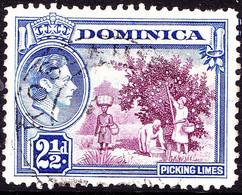 DOMINICA 1942 KGVI 2½d Purple & Bright Ultramarine SG103a Used - Dominica (...-1978)