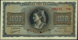 ♛ GREECE - 1000 Drachmai 21.08.1942 {suffixed Serial #} AU-UNC P.118 A(3) - Grecia