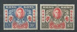 232 HONG KONG 1946 - Yvert 167/68 - Anniversaire Victoire - Neuf ** (MNH) Sans Trace De Charniere - Unused Stamps