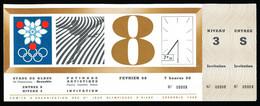 Billet Entrée PATINAGE ARTISTIQUE Figures Imposées Dames 8 Février 1968 Jeux Olympiques D'hiver Grenoble Stade De Glace* - Tickets - Vouchers