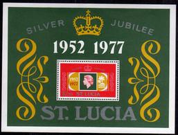 ST SAINT SANTA LUCIA 1977 SILVER JUBILEE QUEEN ELIZABETH II KINGDOM $ 2.50BLOCK SHEET BLOCCO FOGLIETTO BLOC FEUILLET MNH - St.Lucia (...-1978)