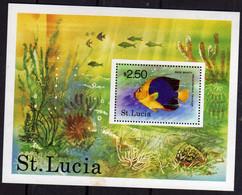 ST SAINT SANTA LUCIA 1978 TROPICAL FISH ROCK BEAUTY PESCE POISSON $ 2.50 BLOCK SHEET BLOCCO FOGLIETTO BLOC FEUILLET  MNH - St.Lucia (...-1978)