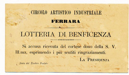 1880 FERRARA CIRCOLO ARTISTICO INDUSTRIALE LOTTERIA BENEFICENZA  0,02/1 LIRA - Marcophilia