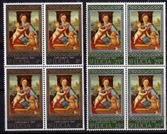 ST SAINT SANTA LUCIA 1967 CHRISTMAS NATALE NOEL WEIHNACHTEN NAVIDAD MADONNA OF RAFFAELLO BLOCK SET SERIE QUARTINA MNH - St.Lucia (...-1978)