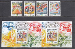 Bulgaria 1988 - Olympic Games, Seoul, Mi-Nr. 3679/82+Block 180A+B, MNH** - Ungebraucht