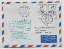 1958 - ENVELOPPE 1° SERVICE AERIEN DIRECT FRANCE URSS Via AEROFLOT De MOSCOU => PARIS => MOSCOU - 1927-1959 Brieven & Documenten