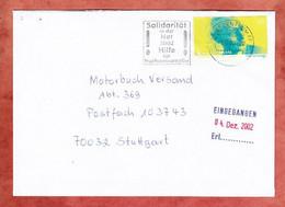Brief, Hesse, MS Solidaritaet In Der Not Hochwasseropfer Briefzentrum 66, Saarbruecken Nach Stuttgart 2002 (5312) - Briefe U. Dokumente