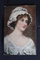 L 226 - Carte Ancienne Cartonnée Représentant Une Dame Avec Une Charlotte Sur La Tête  - With Bes Wishes..- Circulé 1916 - Santa Claus