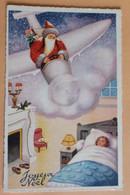 Père Noel En Avion Au Dessus D'une Chambre D'un Fillette -joyeux Noel - Santa Claus