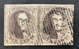 Medaillon OBP6 N5 - 10c Met Afstempeling P126 VIRTON IN PAAR - 1851-1857 Médaillons (6/8)