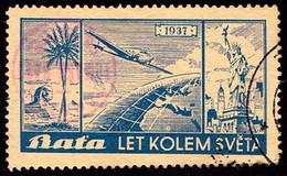 ADVERTISING CINDERELLA / VIGNETTE PUBLICITAIRE : BATA - LET KOLEM SVĚTA / FLIGHT AROUND THE WORLD - 1937 - RRR ! (ai103) - Erinnofilia