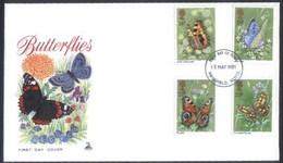 Großbritannien  1981  Schmetterlinge  (1 FDC  Kpl. )  Mi: 875-78 (3,20 EUR) - 1981-1990 Decimal Issues