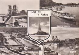 Carte Postale : LA SEINE A PARIS (Notre-Dame, Bateaux Mouche, Tour Eiffel, Allée Des Cygnes, La Cité) - Die Seine Und Ihre Ufer