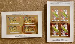 Mini Sheets Gold Olympic Games Seoul 1988 Togo Imperf. - Zomer 1988: Seoel