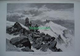 165 Heilmann: Zuckerhütl Stubaier Alpen Riesenbild 40x28 Cm Druck 1899!! - Stampe