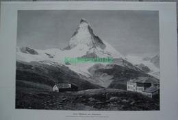169 Braun Hotel Riffelhaus Riffelalp Matterhorn Riesenbild 40x27 Cm Druck 1899!! - Stampe