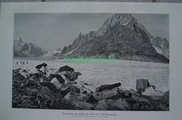 170 Braun Geantgletscher Montblanc Riesenbild 40x26 Cm Druck 1899!! - Stampe