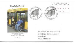 Town For Everybody - Slogan & Braille.  Fdc. Denmark.  H-1741 - Handicaps