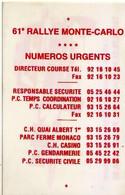 61 è RALLYE MONTE-CARLO - Carte Publicitaire Lettres-décoration - Sérigraphie-Gravure - Altri