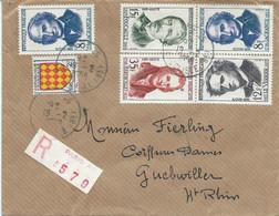 LETTRE RECOMMANDEE 1958 AVEC 6 TIMBRES - 1921-1960: Periodo Moderno