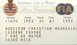AUTOMOBILE CLUB DE MONACO - Licence Commissaire - Altri