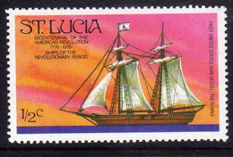 ST SAINT SANTA LUCIA 1976 AMERICAN BICENTENNIAL HANNA FIRST US WARSHIP BICENTENARIO SCOPERTA AMERICA 1/2c  MNH - St.Lucia (...-1978)
