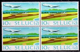 ST SAINT SANTA LUCIA 1970 VIGIE AIRPORT AEROPORTO 10c BLOCK QUARTINA MNH - St.Lucia (...-1978)