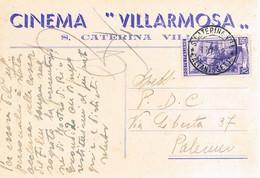 B4919 - S. Caterina Villarmosa, Cinema Villarmosa, Viaggiata 1952 F. G. - Caltanissetta