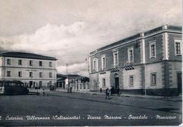 B4921 - S. Caterina Villarmosa, Piazza Marconi, Ospedale, Municipio, Viaggiata 1956 F. G. - Caltanissetta