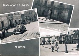 B4927 - Riesi, Saluti 3 Vedute, Viaggiata 1956 F. G. - Caltanissetta