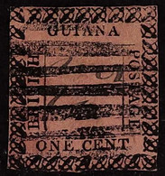 1862 1c Black On Rose, SG Type 10 Frame With Signature, SG 116, Used, Cat.£850. For More Images, Please Visit Http://www - British Guiana (...-1966)