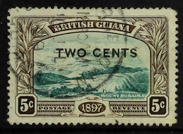 """1899 2c On 5c Deep Green And Sepia, No Stop After """"CENTS"""", SG 222a, Neat Cds Used, Tiny Marginal Thin. For More Images,  - British Guiana (...-1966)"""