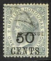 "1899 RARE VARIETY 50c On 1s Grey, Variety ""Revenue"" Overprint 11mm Long, SG 69c, Fine Used. A Seldom Seen Stamp Of This  - British Honduras (...-1970)"