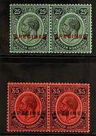 "1922 SPECIMEN OVERPRINTS 25c Black On Emerald With ""SPECIMEN"" Overprint In Red Plus £5 Purple And Black On Red With ""SPE - British Honduras (...-1970)"