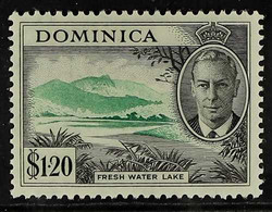 """1951 $1.20 """"Fresh Water Lake"""", Variety """"C Of CA Missing From Wmk"""", SG 133a, Small Part Of """"C"""" Showing. Fine Mint. Cat SG - Dominica (...-1978)"""
