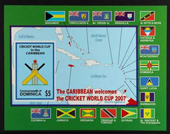2007 IMPERF PROOF MINIATURE SHEET World Cup Cricket, West Indies $5 Miniature Sheet As SG MS3562, IMPERF PROOF From The  - Dominica (...-1978)