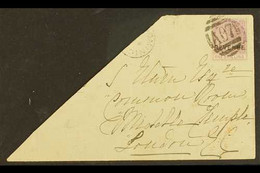 """POSTAL FISCALS 1878-79 1s Magenta With """"REVENUE"""" Overprint, SG R3, Fine Used On Large Part Of Envelope To London, Tied B - Dominica (...-1978)"""