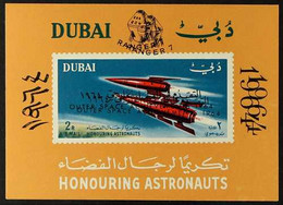 """1964 Air """"Outer Space Achievements"""" Mini-sheet With OVERPRINT DOUBLE Variety, SG MS129a Var, Superb Never Hinged Mint, F - Dubai"""