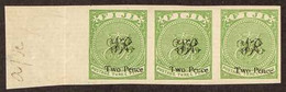 1877 2d On 3d Yellow-green On Laid Paper, A Superb IMPERF HORIZONTAL STRIP OF THREE, As SG 32, Ex Printers Trials, All T - Fiji (...-1970)