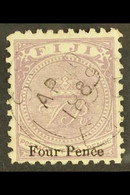 1878-99 4d On 2d Dull Purple Perf 12½ Surcharge Type B Length 14mm, SG 43, Fine Used With Fully Dated Cds Cancel, Fresh. - Fiji (...-1970)