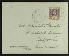 """1903 (2 Mar) Env Printed """"British Residency / TONGA"""" Sent To England Bearing Fiji KEVII 2d Tied Suva Cds With Another Al - Fiji (...-1970)"""